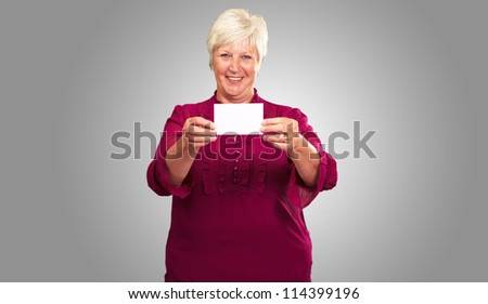 Old Woman Showing  Paper, Indoor