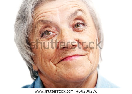 Old woman smile face. Grandmother - stock photo