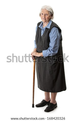 Old woman with a cane on a white background  - stock photo