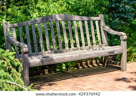 Old Wood Bench In The Garden