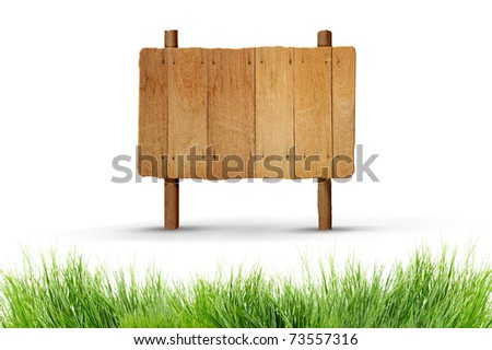 Old wood blank sign - stock photo