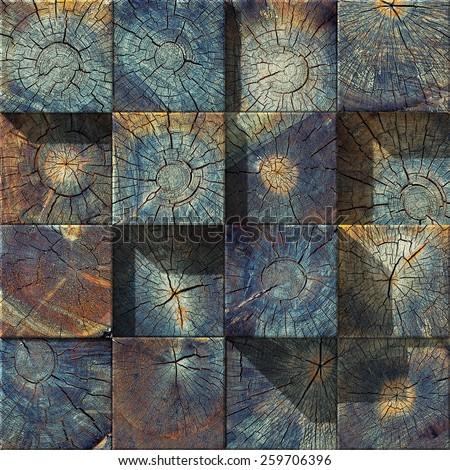old wood blocks  backdrop. 3d concept (unique  textures) - stock photo