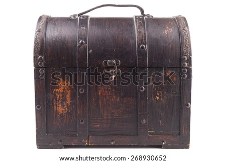 Old wood chest closed isolated on white background - stock photo