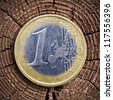 Old wood cut and Euro coin - stock photo