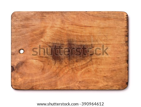 Old wood cutting board isolated on white - stock photo
