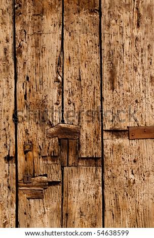Old wood door detail - stock photo