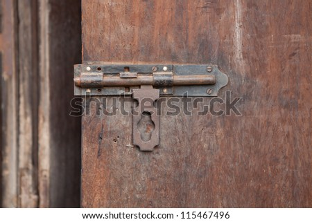 Old Wood Door with Latch. - stock photo