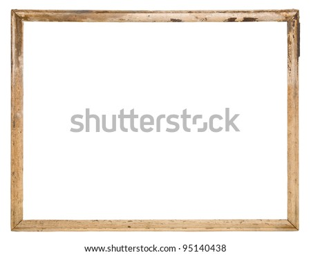 Old wood frame isolated on the white - stock photo
