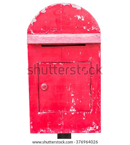 Old wood mail box isolated on white background - stock photo