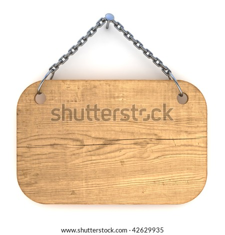 Old wood notice board hanging on wall, isolated on white - stock photo
