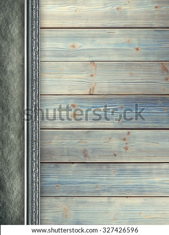 Old wood plank wall background and old canvas  - stock photo
