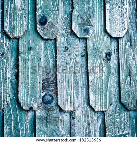 Old wood roof. Blue wooden shingles. Texture of weathered wood. - stock photo