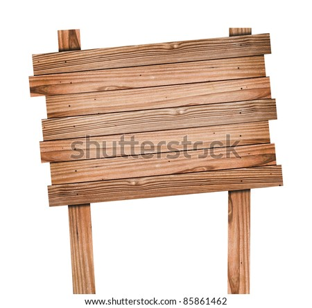 Old wood sign isolated with clipping path - stock photo