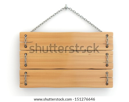 Old wood signboard on chain. 3d - stock photo