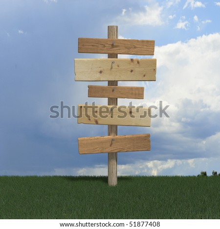 Old wood signs on pole - stock photo