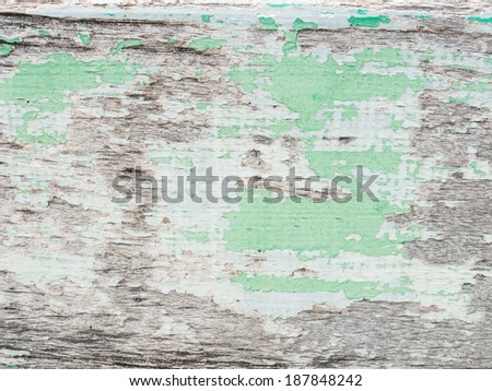 Old wood texture with green painting background - stock photo