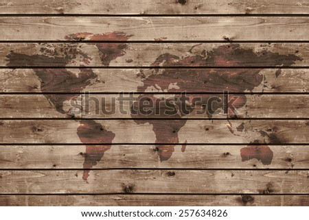 old wood texture with world map  in vintage style - stock photo