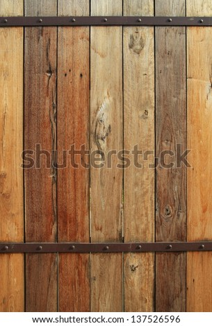 old wood wall background ,wood wall with rusty steel metal and nail texture background, brown plank wooden wall background - stock photo
