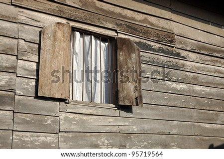 Old Wood Wall House Curtain Brown - stock photo