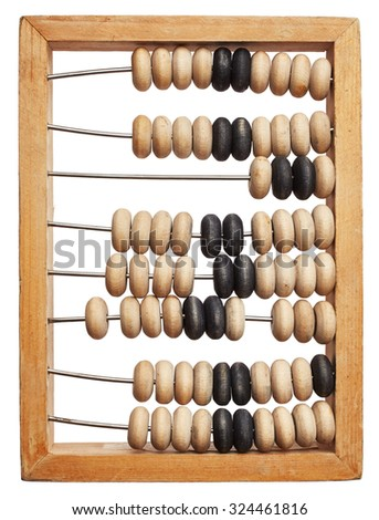 Old wooden abacus isolated on white background