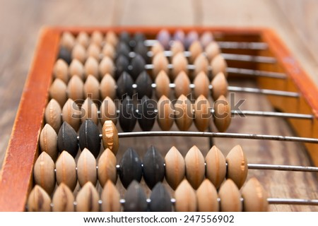 Old wooden abacus on wood background - stock photo