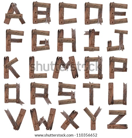 Old Wooden Alphabet isolated on white - stock photo