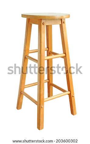 Old Wooden Bar Chair isolated on white background - stock photo