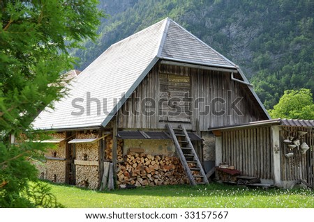 Old wooden barn with ladder and firewood. Trenta, Slovenia