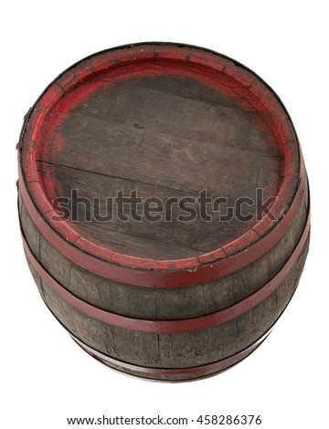 Old wooden barrel isolated on white - stock photo