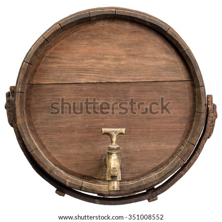 Old wooden barrel on white background - stock photo