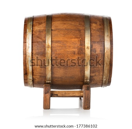 Old wooden barrel side view isolated on white - stock photo