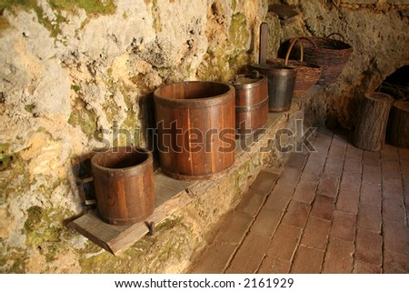 old wooden baskets - stock photo