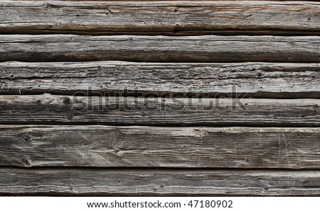 old wooden beam wall texture - stock photo