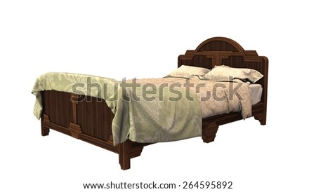 old wooden bed seperated on white background - stock photo