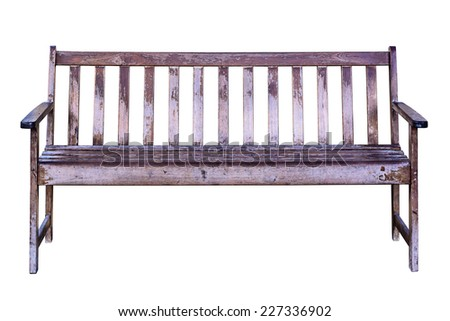 Old wooden bench isolated on white background with clipping path. - stock photo