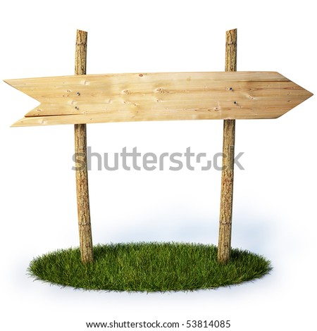 old wooden billboard with arrow. with clipping path. - stock photo