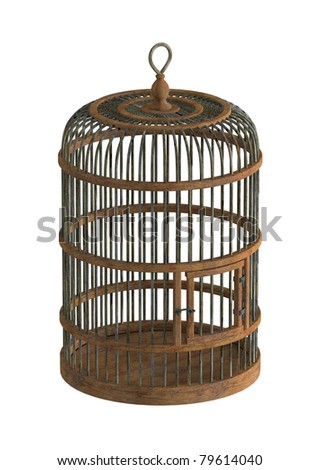 old wooden birdcage - 3d illustration isolated on white - stock photo