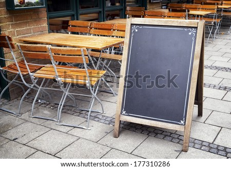 old wooden black board with space for text - stock photo