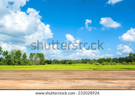 Old wooden board in front of the rice field and sky with clouds  - stock photo