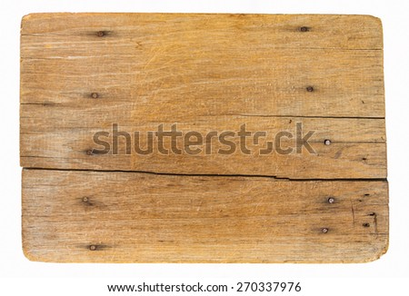 Old wooden board isolated on white background - stock photo