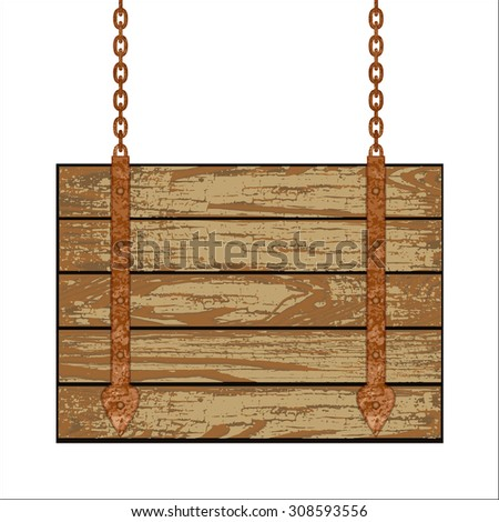Old wooden board with rusty chain.