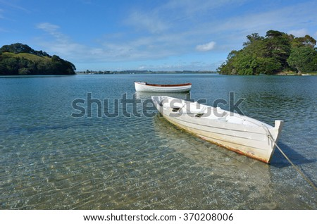 Old wooden boats in Leigh, New Zealand. - stock photo