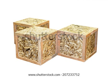 Old Wooden box isolated on white background transport cargo case industrial packaging parcel mail fragile transportation boxed wooden container package logistics storage timber with clipping path. - stock photo