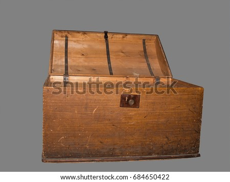 old wooden box on grey background