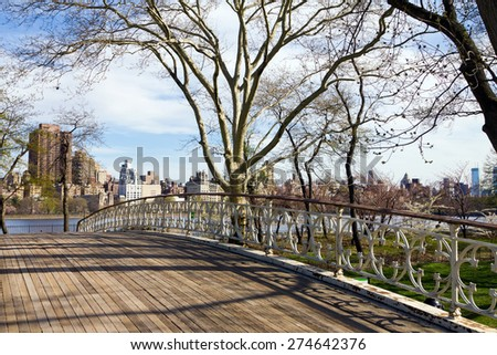 Old Wooden Bridge in Central Park, New York City - stock photo