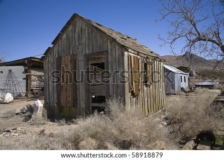 Old wooden building in Darwin California near Death Valley.