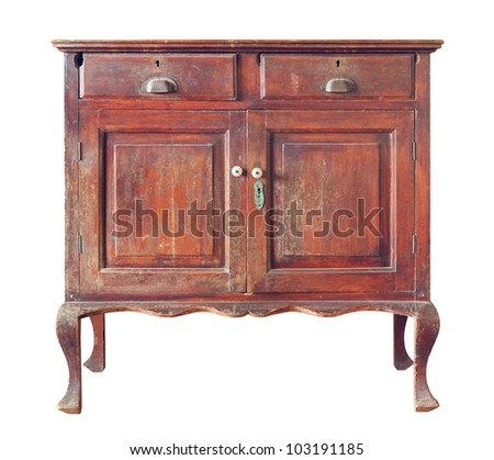 Old wooden cabinet isolated on white background - Old Wooden Cabinet Isolated On White Stock Photo 103191185