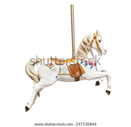 Old wooden carousel horse isolated on white background - stock photo