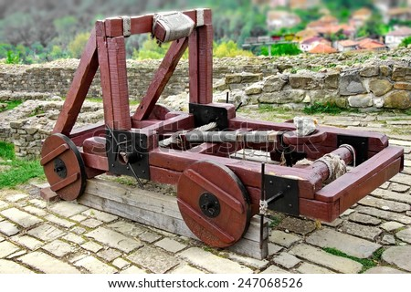 Old Wooden catapult in Tsarevets fortress,  Bulgaria, Veliko Tarnovo - stock photo