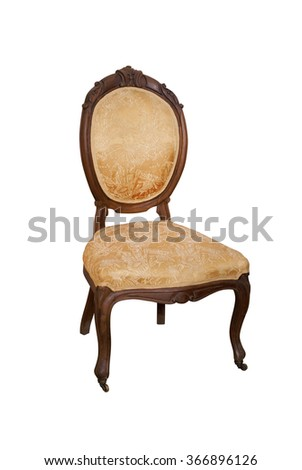 Old wooden chair from Kitchen set. Made from walnut. Carving and tapestry.